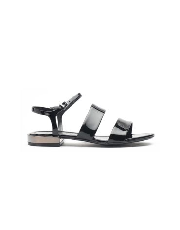 Schutz Double Band Black Sandals