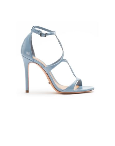 Schutz High-Ankle Blue Strapup Stilettos