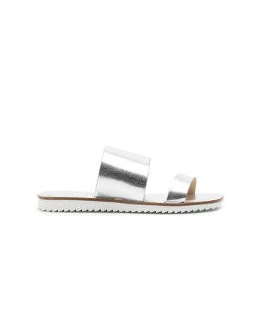 Schutz Metallic Dual Strapped Slide Sandals