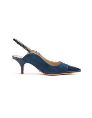 Schutz Patent Leather Suede Navy Blue Slingback Pumps
