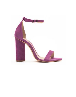 Schutz Bare-All Block Heel Suede Grape Sandals