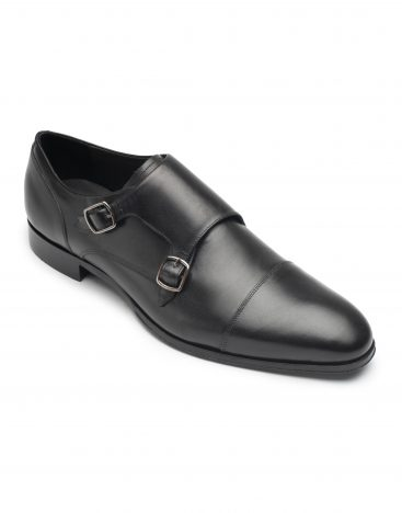 Heel & Buckle London-Shoes-Charcoal Double Monk-Black Brown Tip-2