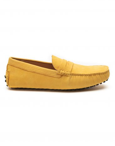 Heel _ Buckle London -Shoes-8838-141-2N-Drivers (Soft Leather)-Yellow with saddle-1