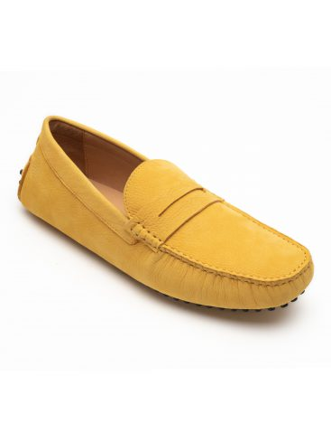 Heel _ Buckle London -Shoes-8838-141-2N-Drivers (Soft Leather)-Yellow with saddle-2