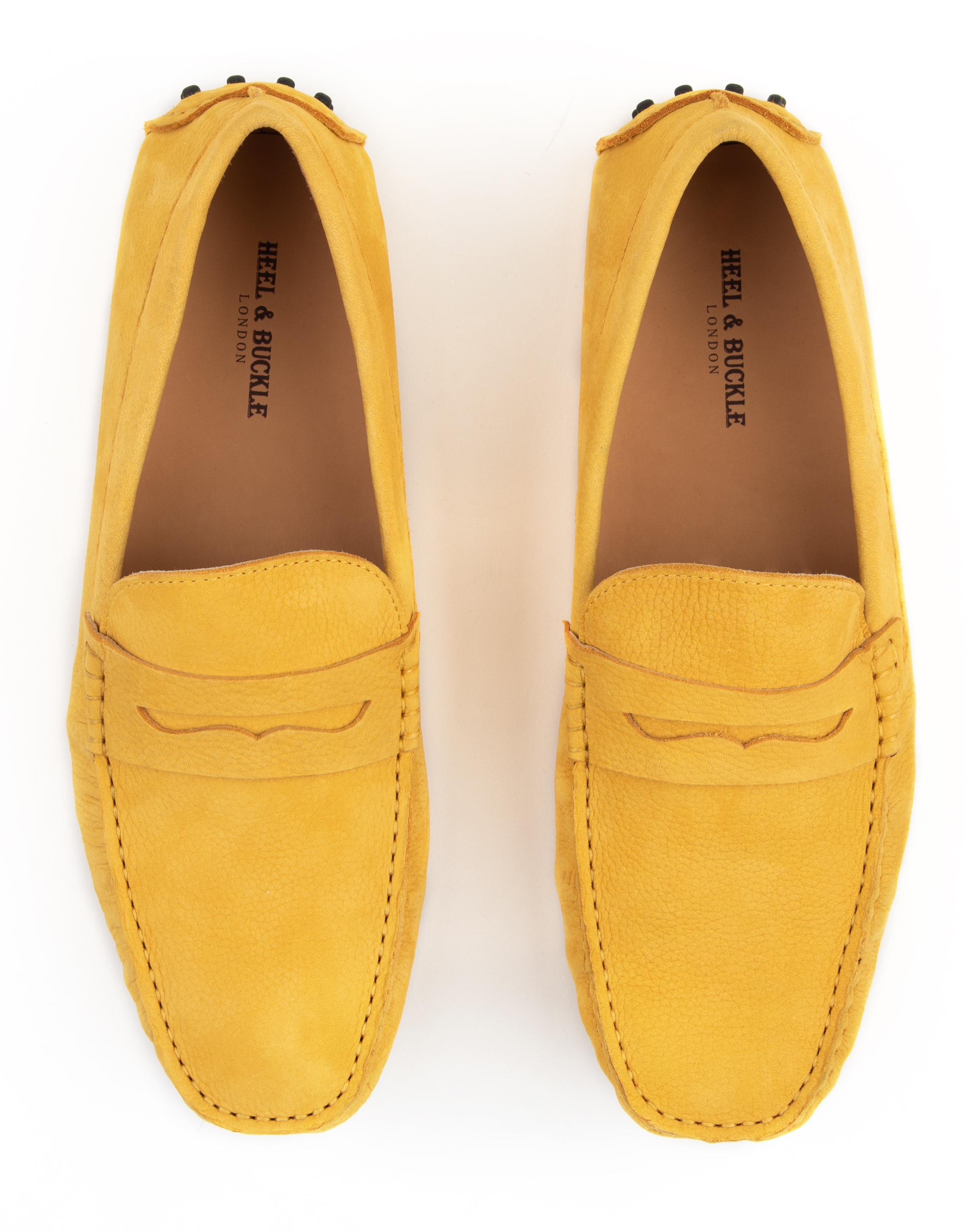 Heel _ Buckle London -Shoes-8838-141-2N-Drivers (Soft Leather)-Yellow with saddle-4