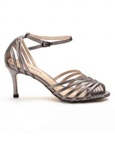 Heel _ Buckle London-Shoes-HBDARW087-Metallic Grey Ankle Strap Sandals-1