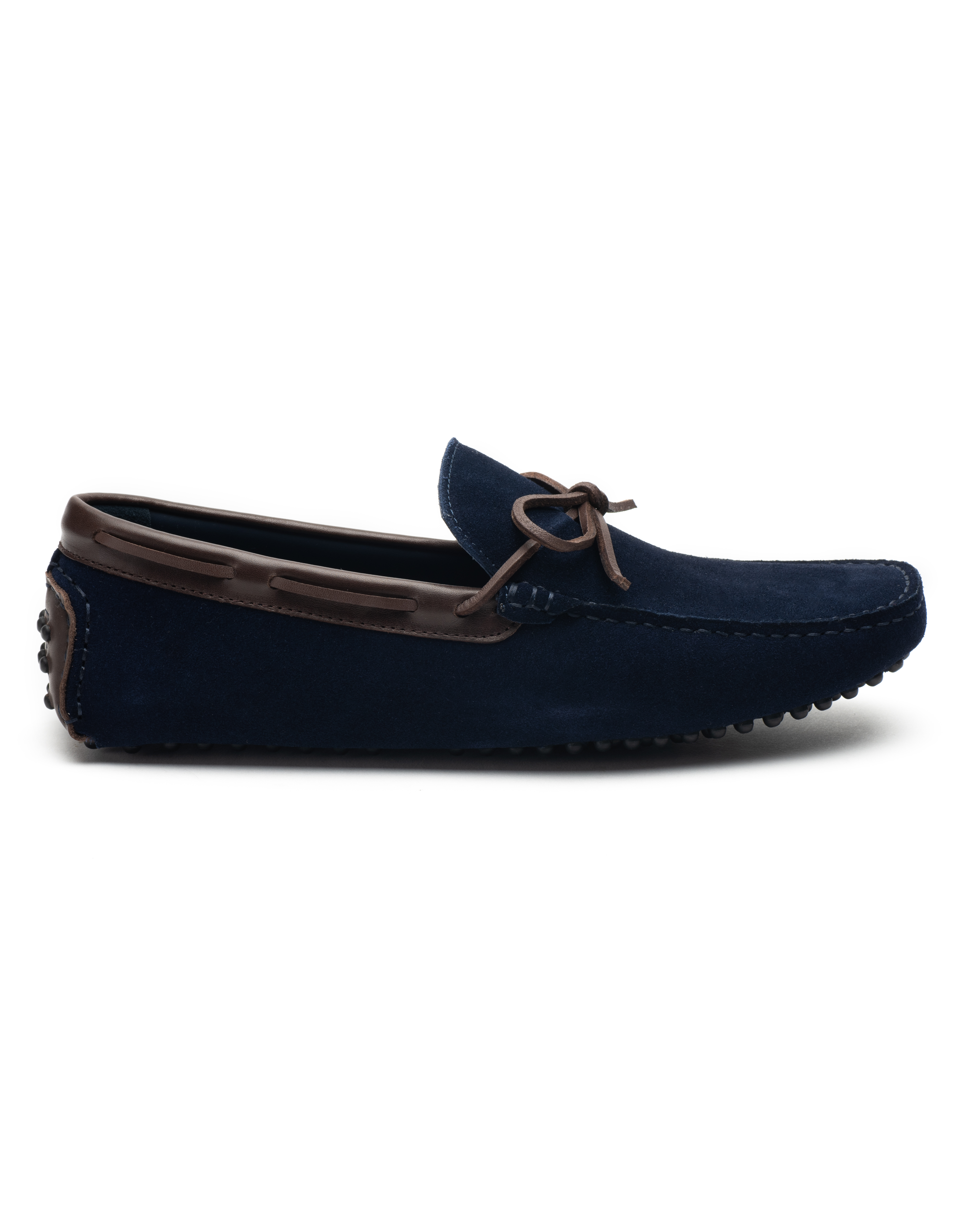 Heel _ Buckle London -Shoes-HF101-1-Drivers-Dark Blue suede with tan tassel-1