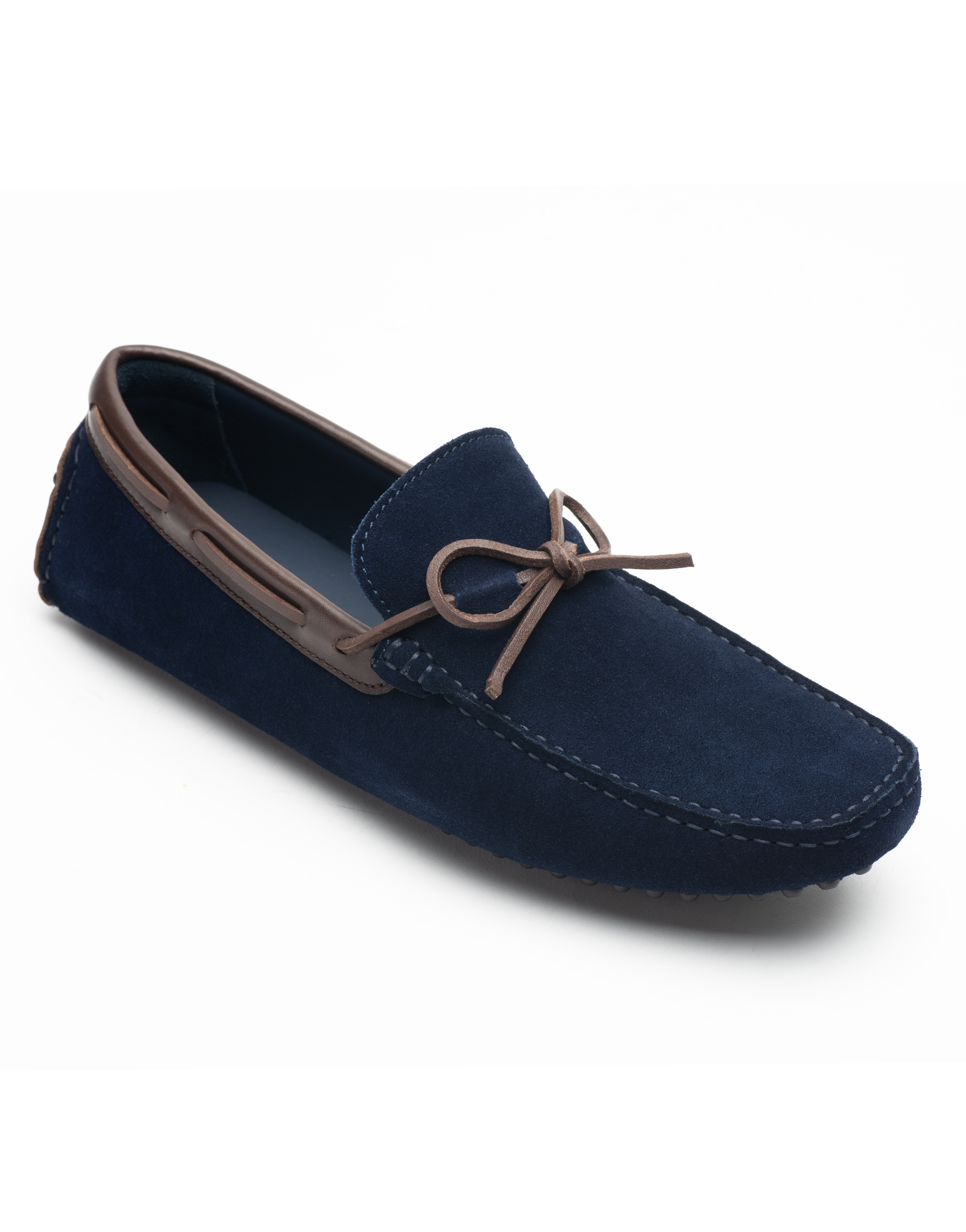 Heel _ Buckle London -Shoes-HF101-1-Drivers-Dark Blue suede with tan tassel-2