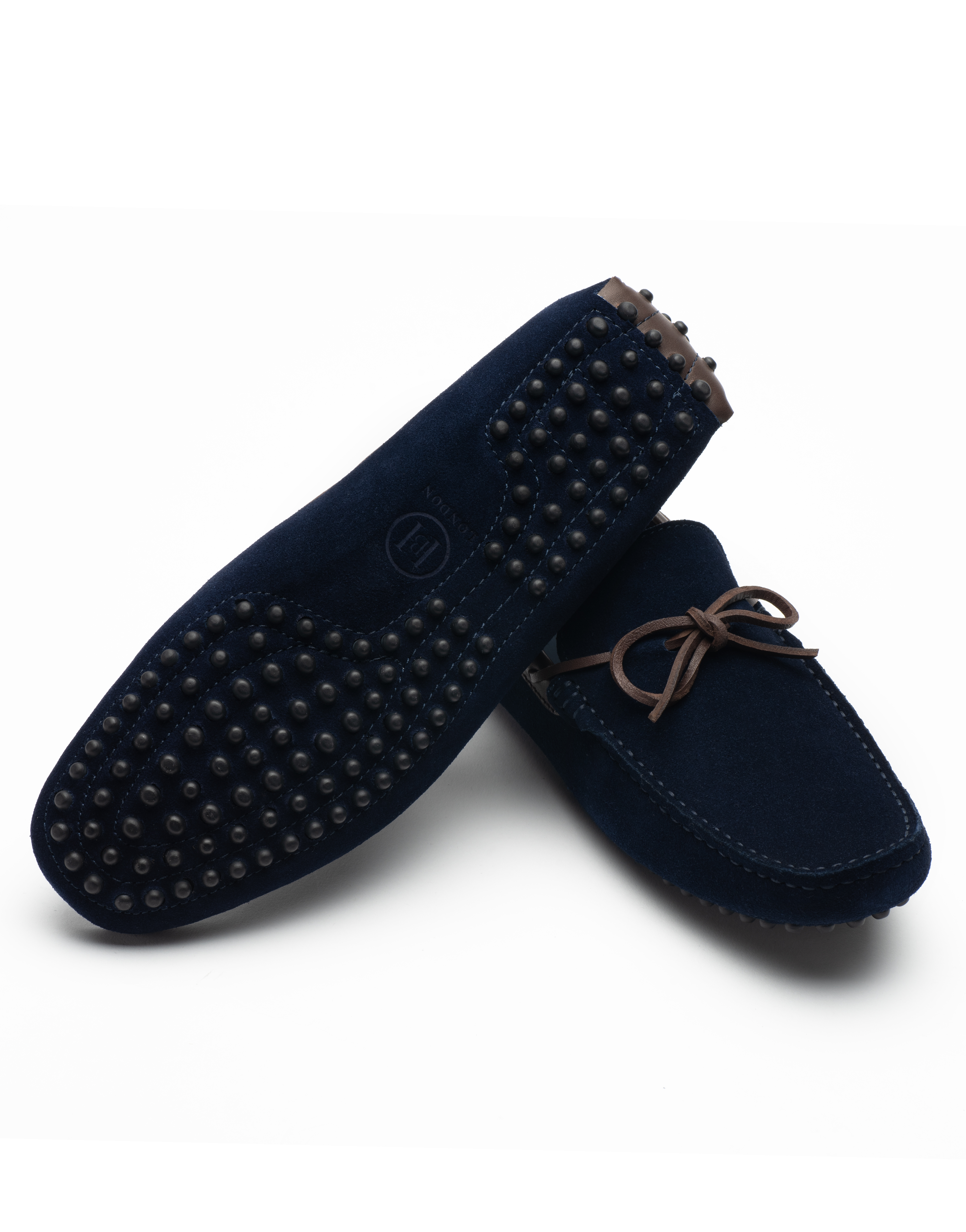 Heel _ Buckle London -Shoes-HF101-1-Drivers-Dark Blue suede with tan tassel-3