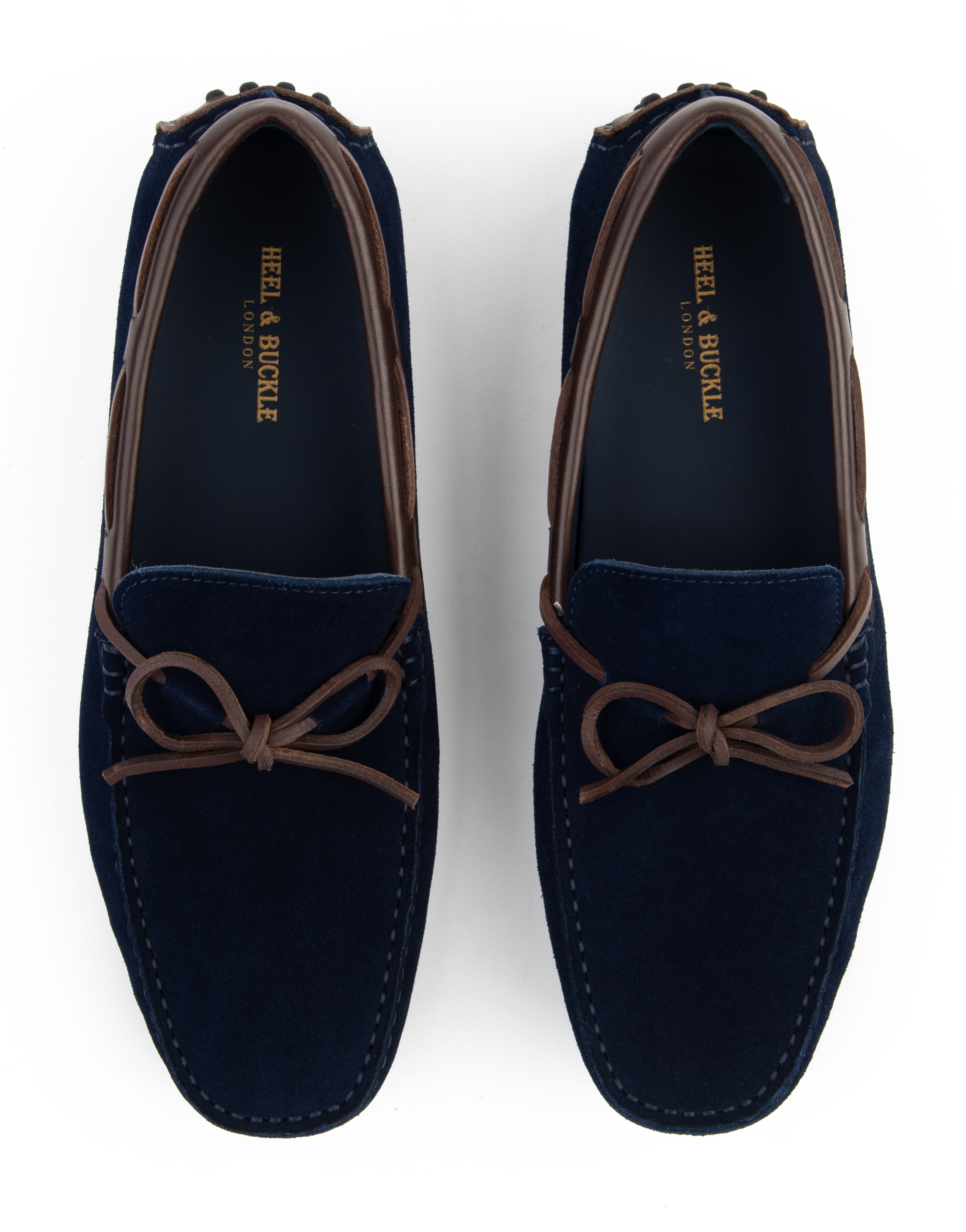 Heel _ Buckle London -Shoes-HF101-1-Drivers-Dark Blue suede with tan tassel-4