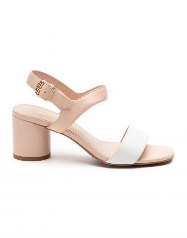 Heel _ Buckle London-Shoes-LT3906-6-Open Block Heels-White + tan-1
