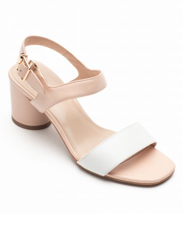 Heel _ Buckle London-Shoes-LT3906-6-Open Block Heels-White + tan-2