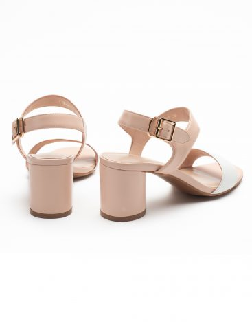 Heel _ Buckle London-Shoes-LT3906-6-Open Block Heels-White + tan-3