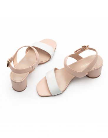 Heel _ Buckle London-Shoes-LT3906-6-Open Block Heels-White + tan-4