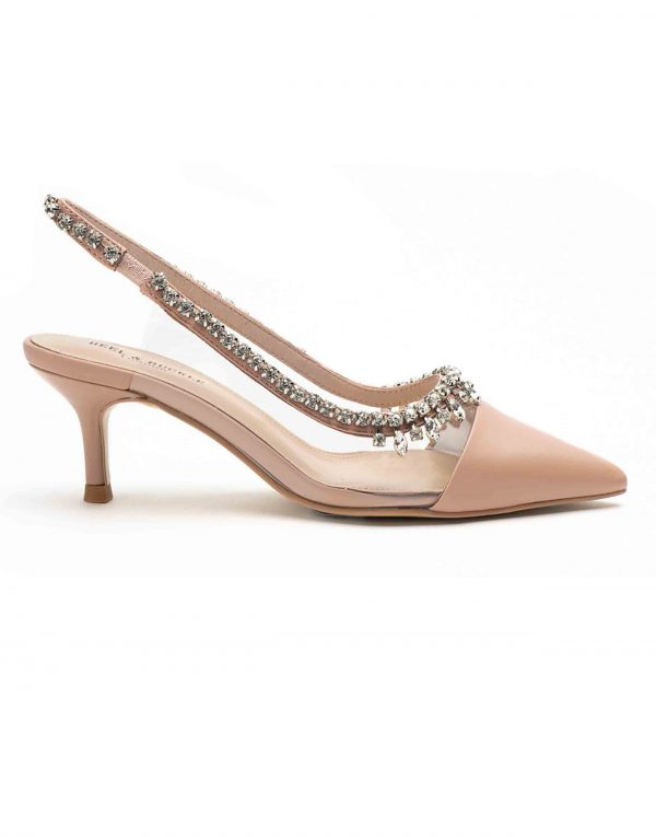 Re Heel _ Buckle London-Shoes-HBDARW090-Blush Pink Studded Perspex Sandals-1