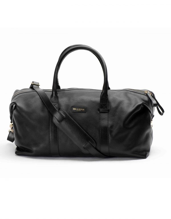 Black Textured Leather Duffle Bag1