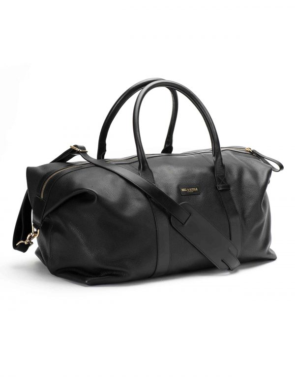 Black Textured Leather Duffle Bag2