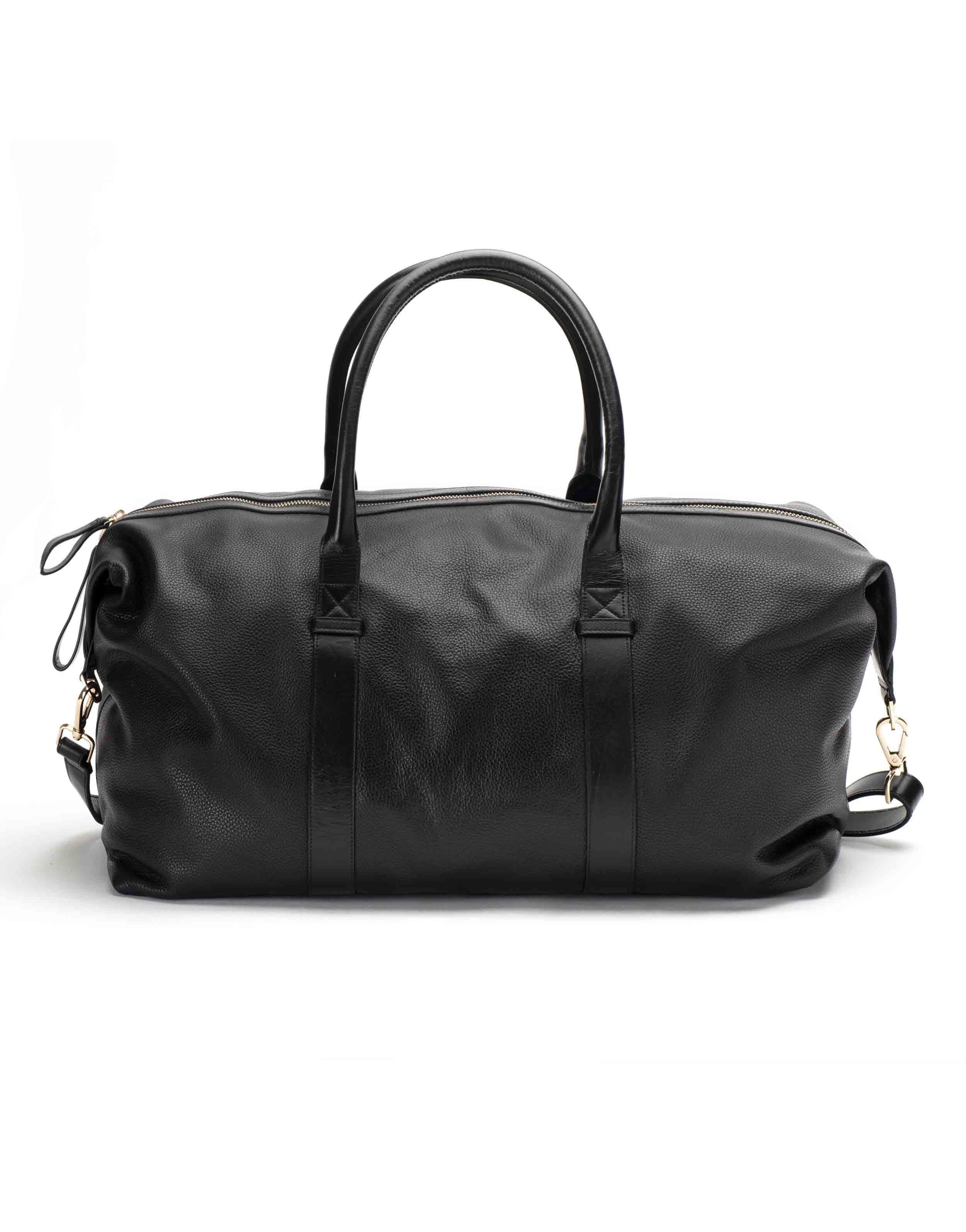 Black Textured Leather Duffle Bag3