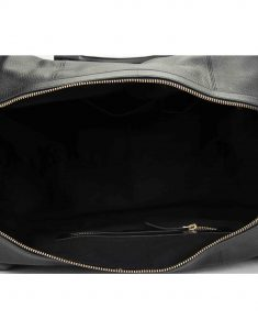 Black Textured Leather Duffle Bag4