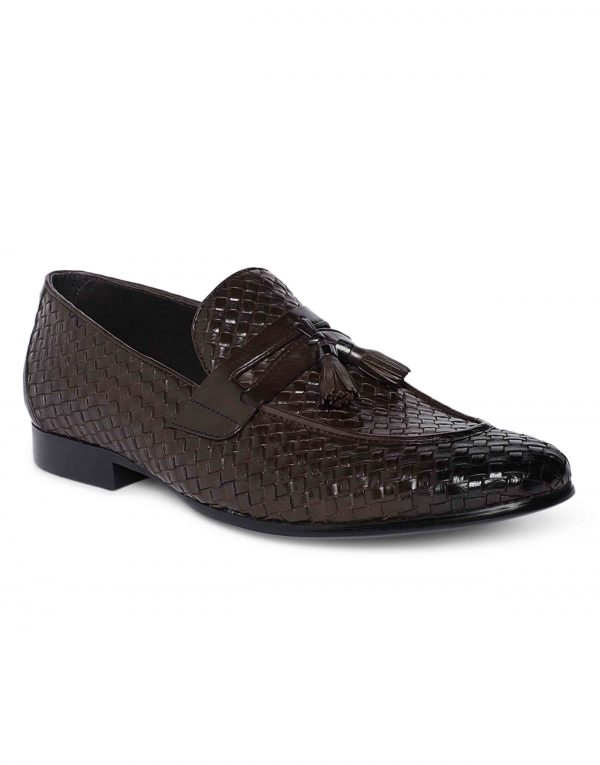 Brown Woven Tassel Loafer 2