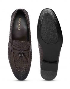 Brown Woven Tassel Loafer 4
