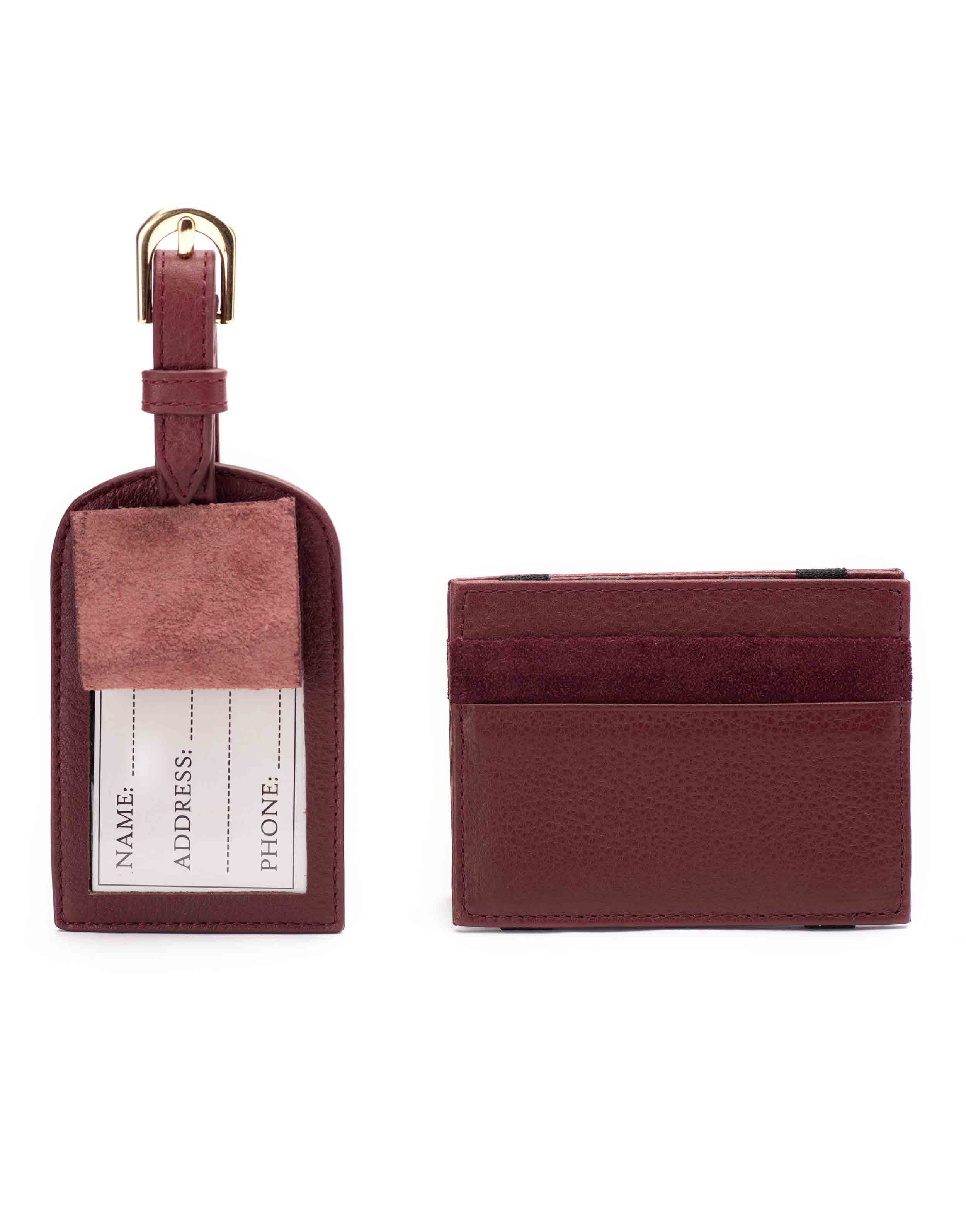 Burgundy Magic Wallet _ Luggage Tag Set1