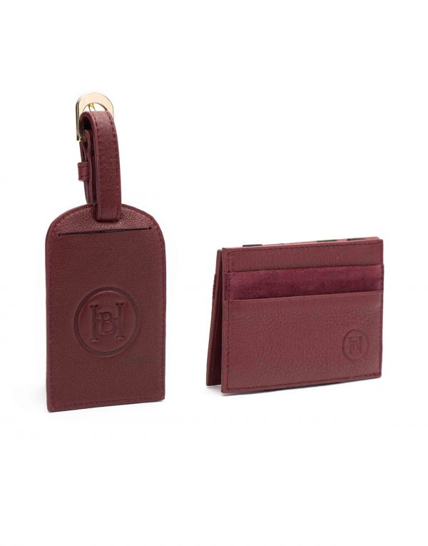 Burgundy Magic Wallet _ Luggage Tag Set2