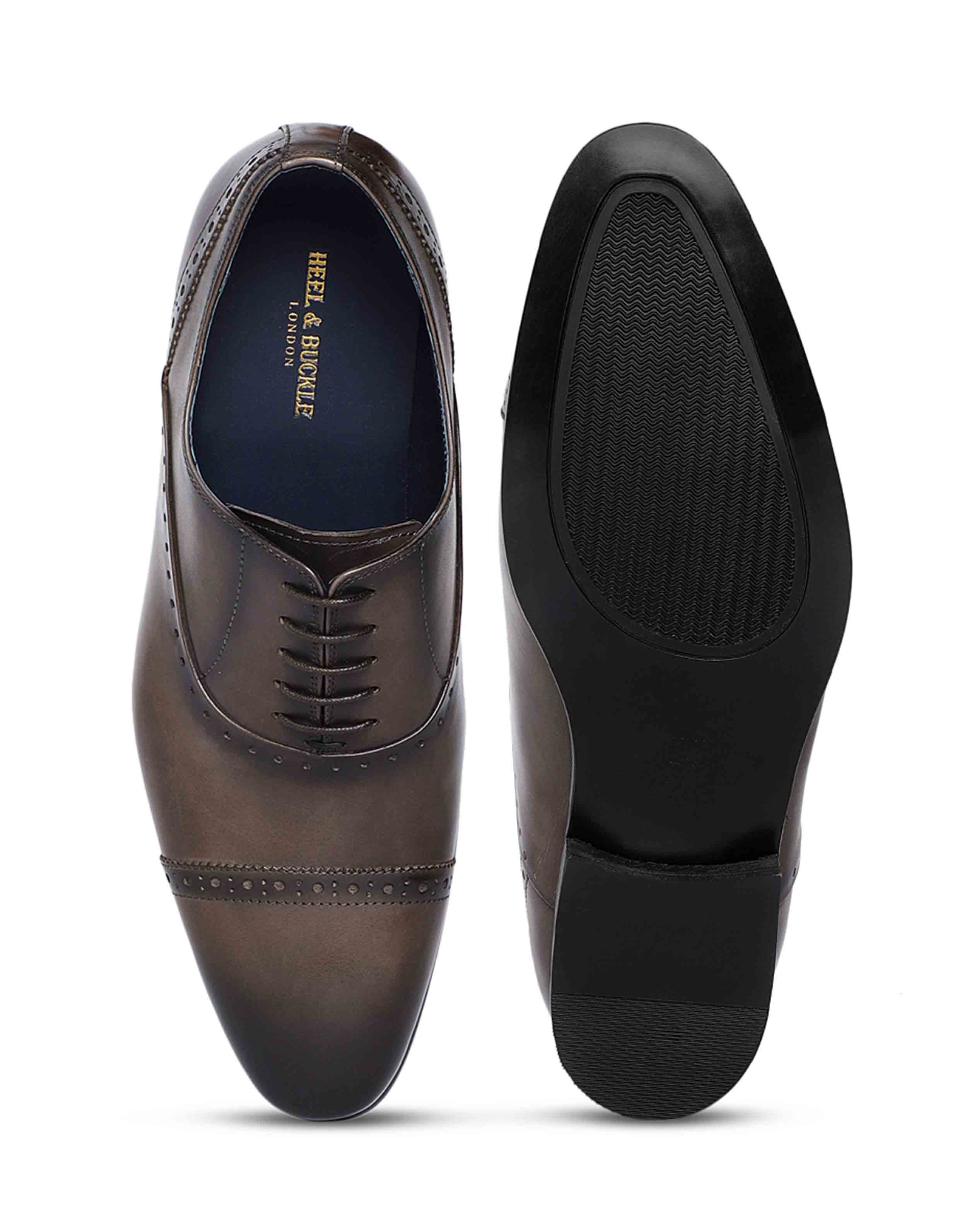 Grey medallion wingtip oxfords4