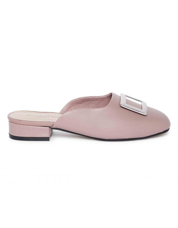Mauve Buckled Mules1