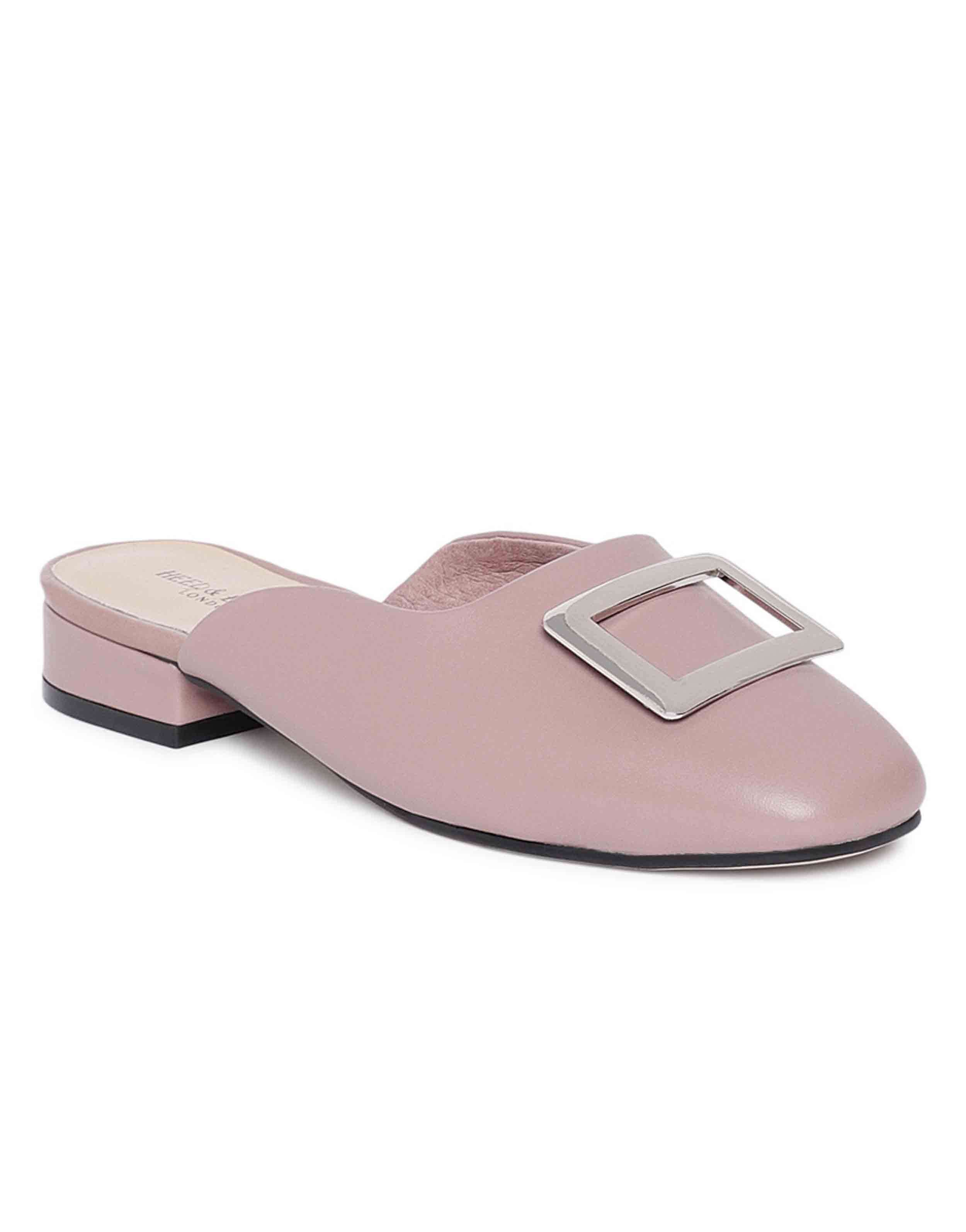 Mauve Buckled Mules2