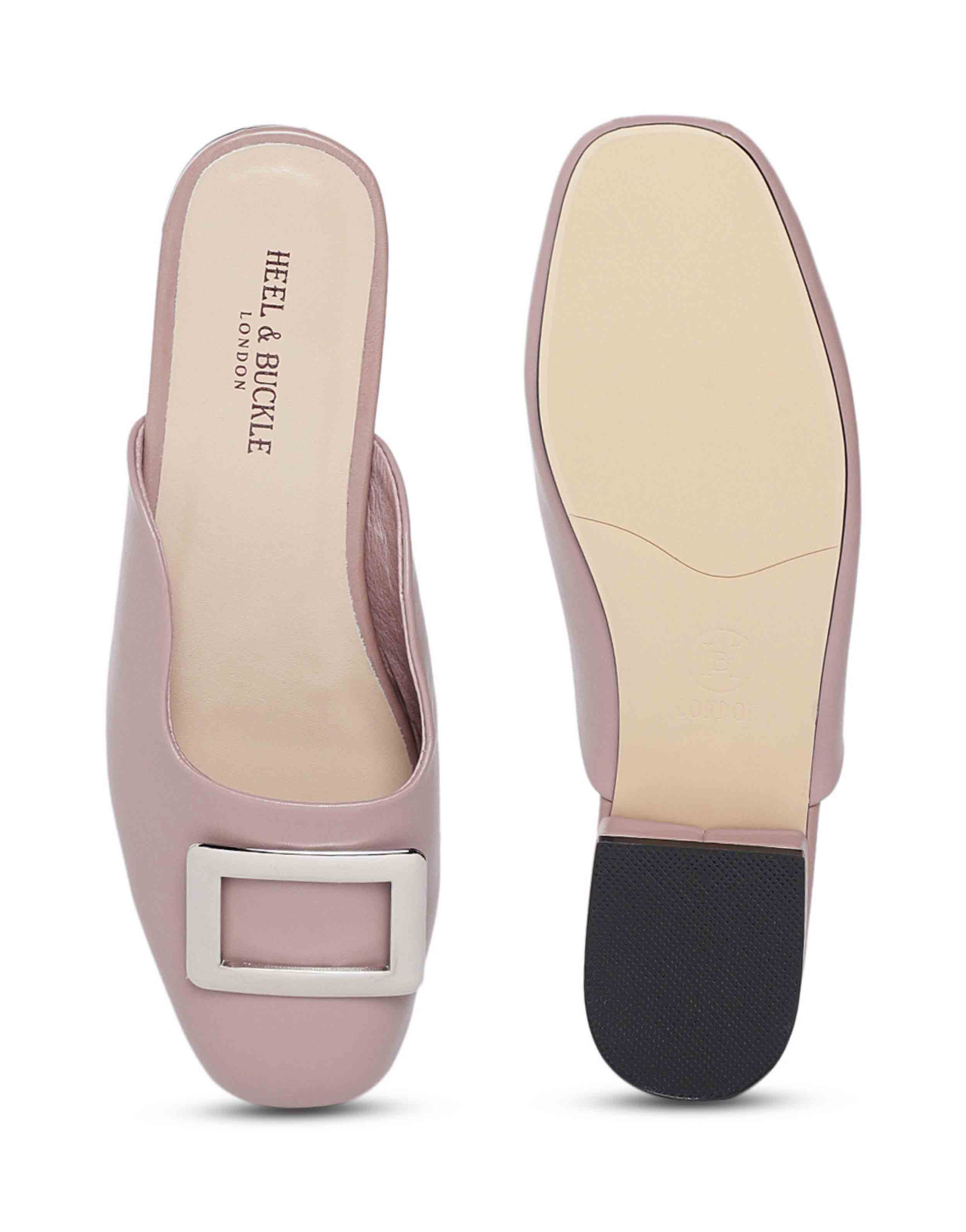 Mauve Buckled Mules4