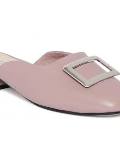 Mauve Buckled Mules5