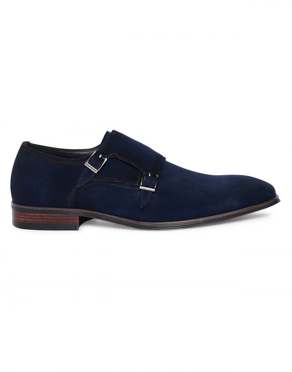 Navy Suede Double Monk 1