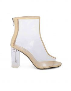 Nude Clear Glassy Peep-toe boots1
