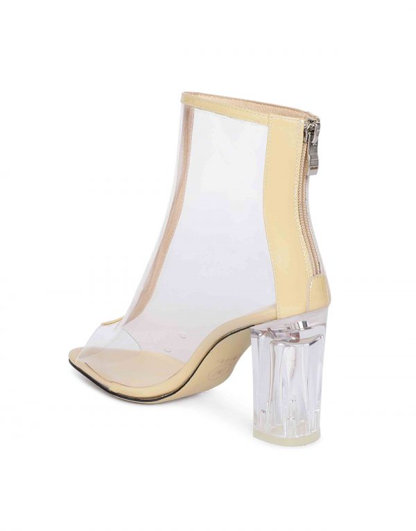 Nude Clear Glassy Peep-toe boots3