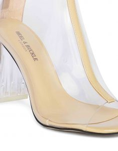 Nude Clear Glassy Peep-toe boots5