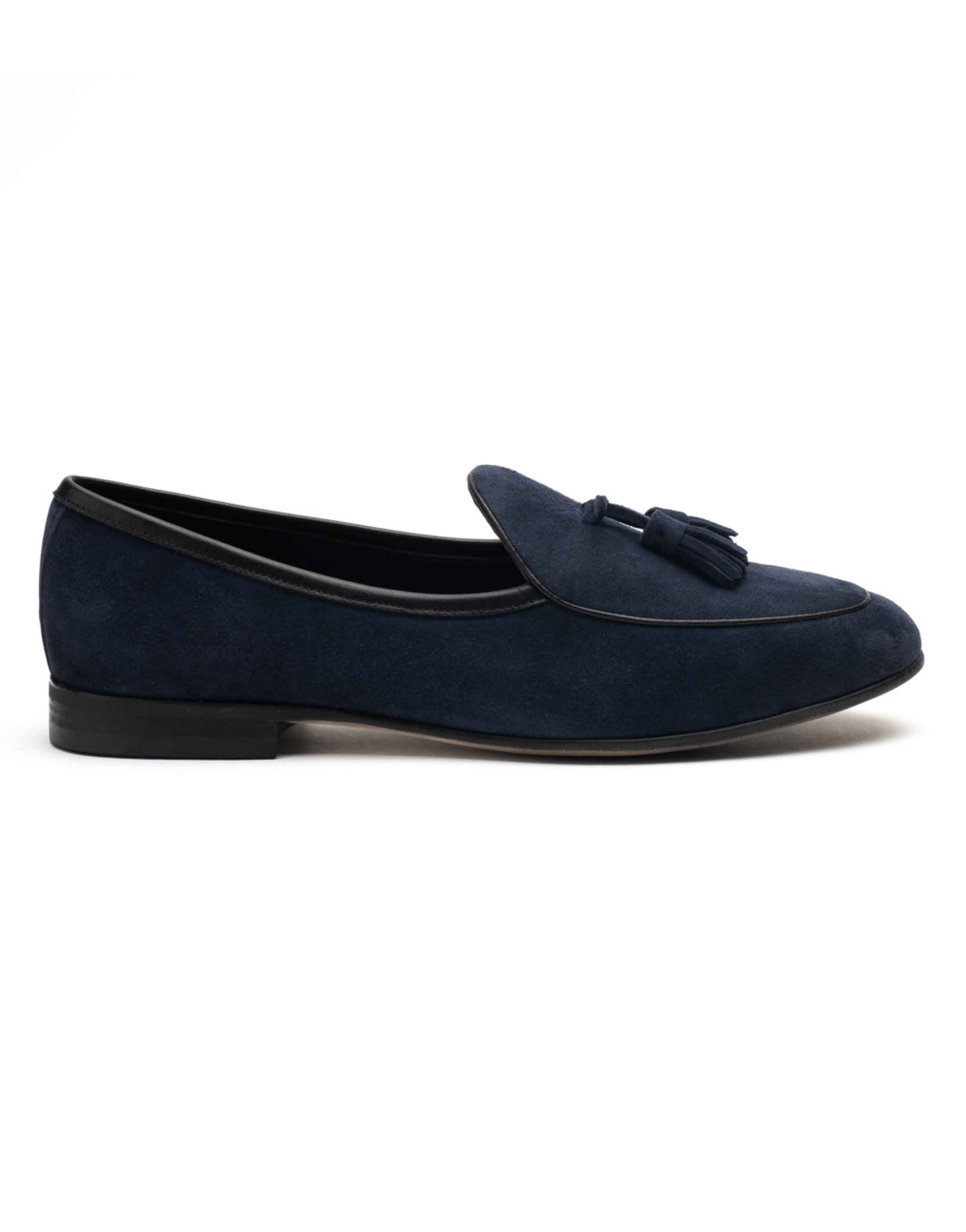 Heel _ Buckle London-HBDARM074-Sliced Navy Suede Loafers-Navy-1