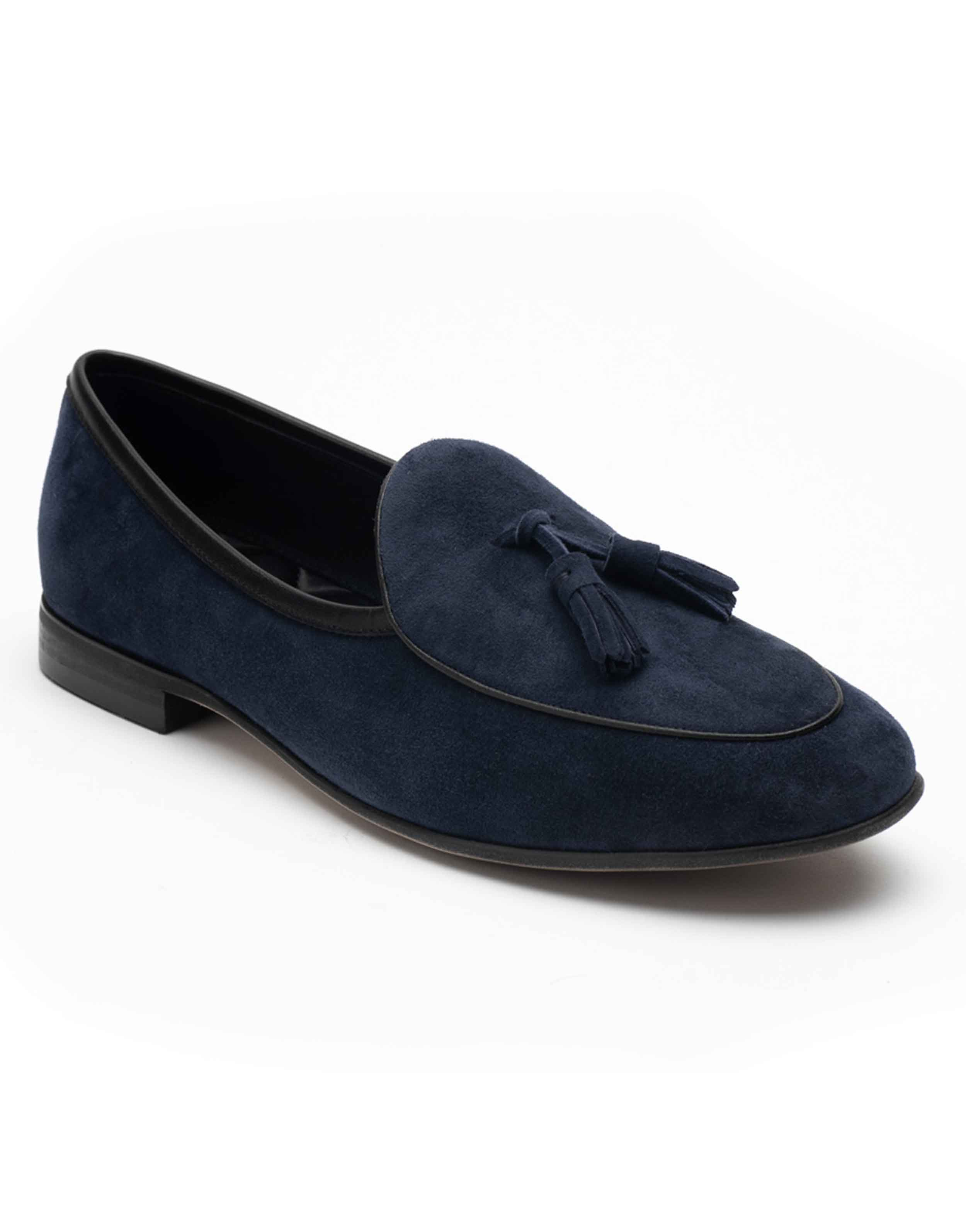 Heel _ Buckle London-HBDARM074-Sliced Navy Suede Loafers-Navy-2