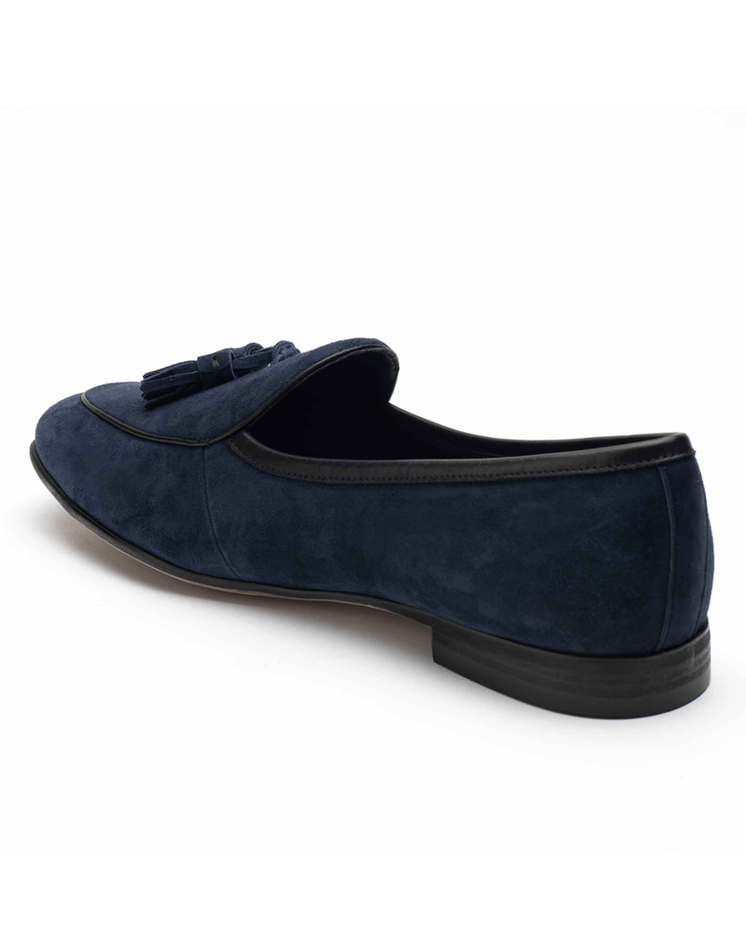 Heel _ Buckle London-HBDARM074-Sliced Navy Suede Loafers-Navy-3