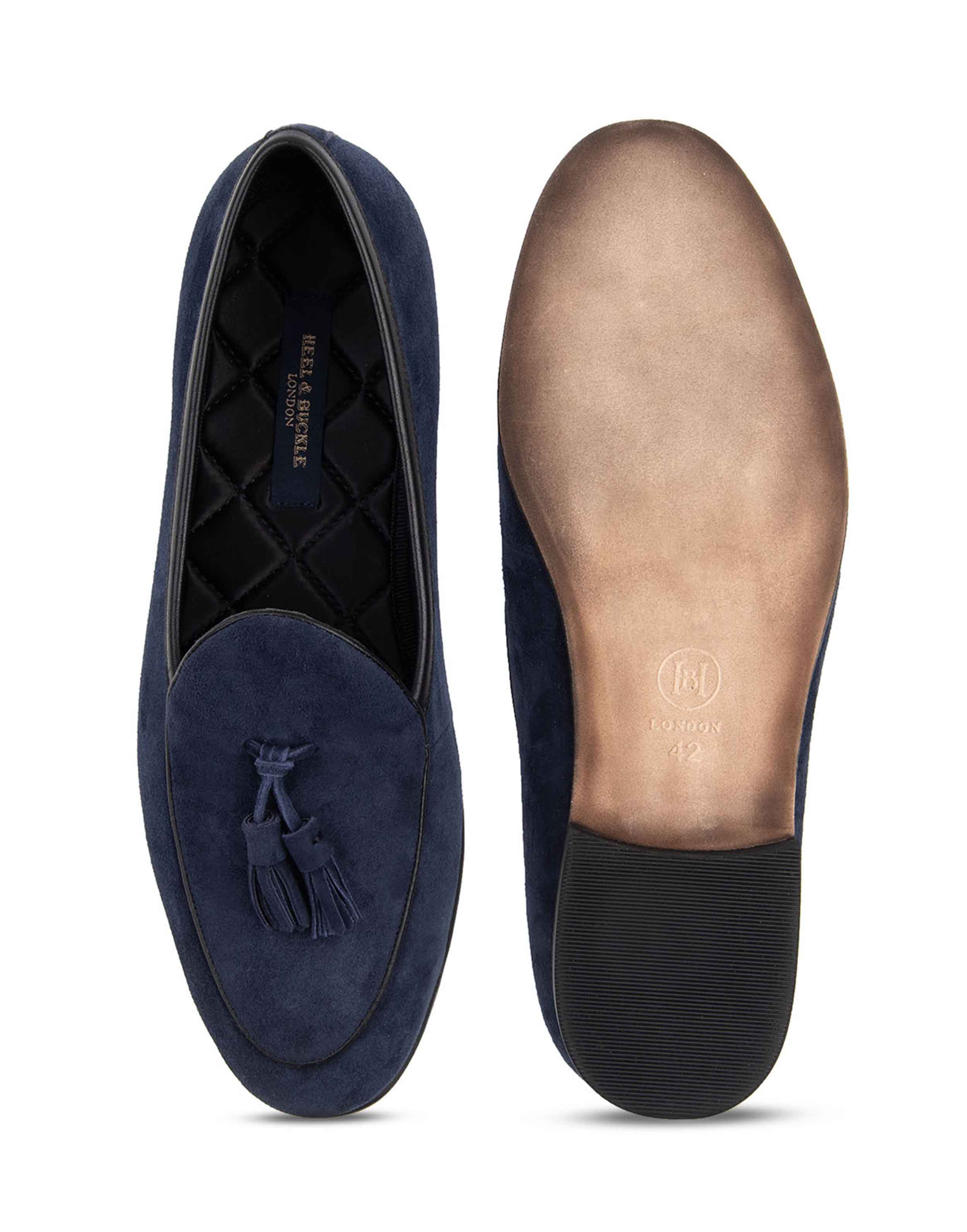 Heel _ Buckle London-HBDARM074-Sliced Navy Suede Loafers-Navy-4