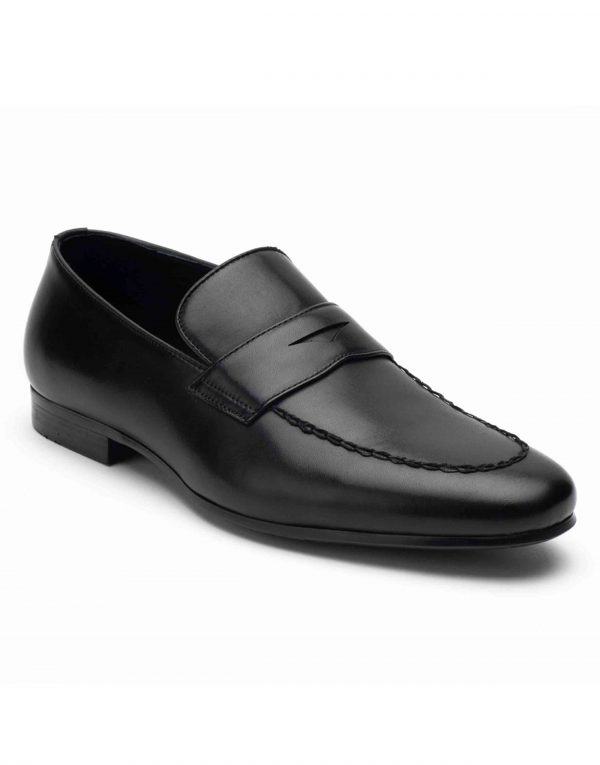Heel _ Buckle London-HBDARM094-Diverse Black Penny Loafers-2