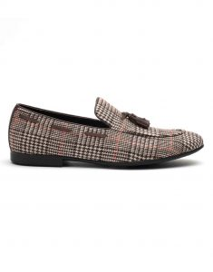 Heel _ Buckle London-HBDARM101-Checkered Brown Tassel Loafers-1