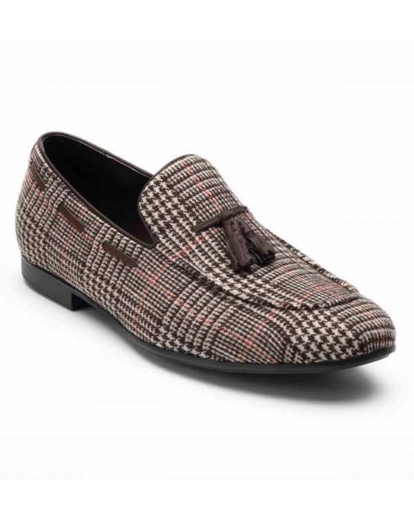 Heel _ Buckle London-HBDARM101-Checkered Brown Tassel Loafers-2