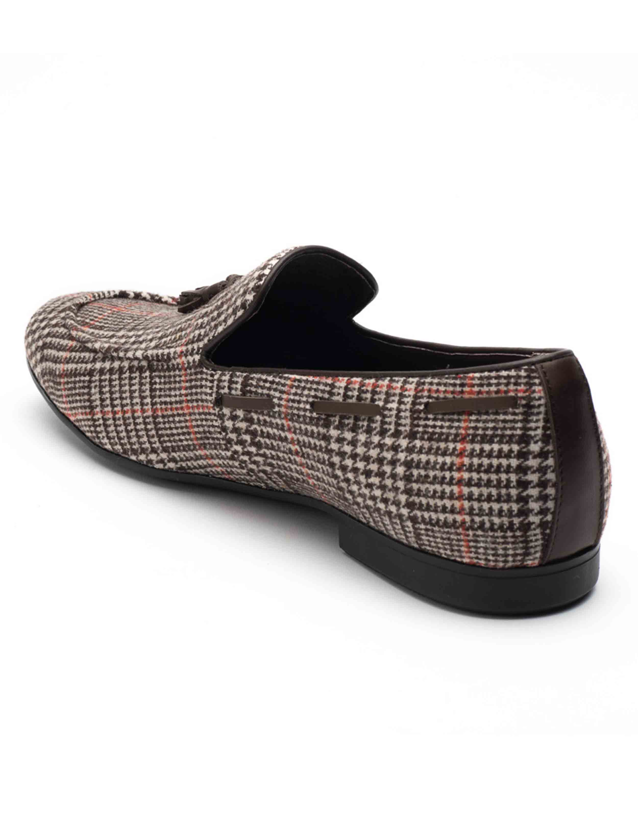 Heel _ Buckle London-HBDARM101-Checkered Brown Tassel Loafers-3