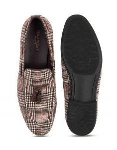 Heel _ Buckle London-HBDARM101-Checkered Brown Tassel Loafers-4