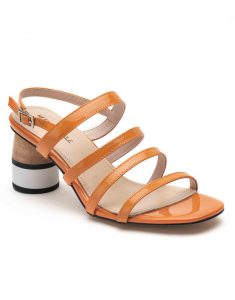 Heel _ Buckle London-Shoes-HBDARW082-Orange Back Strap Sandals-2