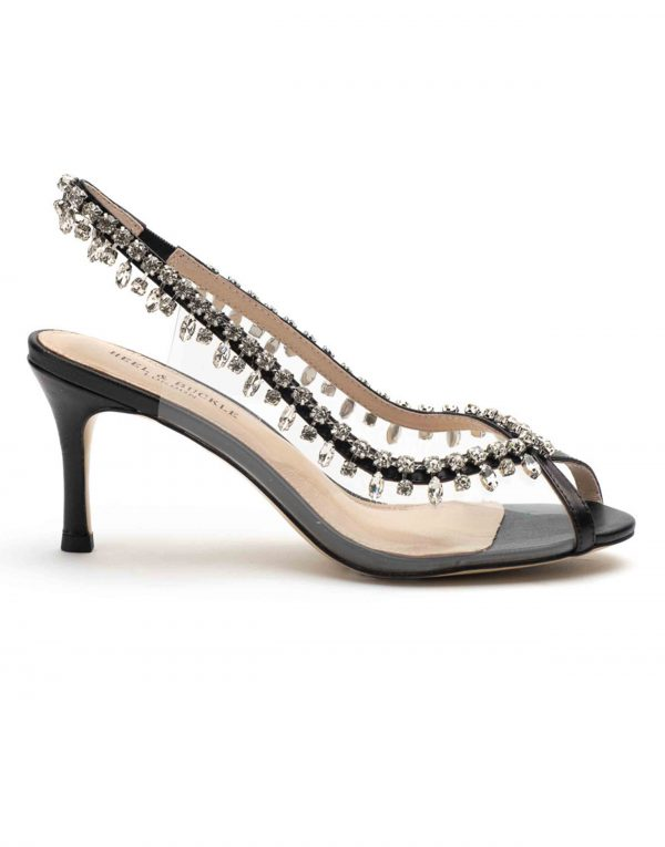 Heel _ Buckle London-Shoes-HBDARW092-Black Studded Perspex Open Toe Sandals-1