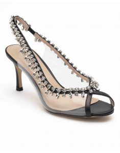 Heel _ Buckle London-Shoes-HBDARW092-Black Studded Perspex Open Toe Sandals-2
