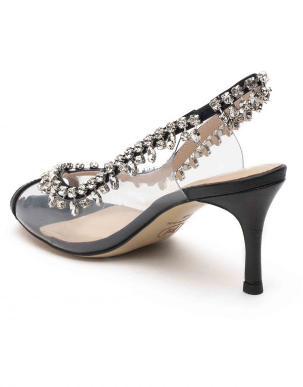 Heel _ Buckle London-Shoes-HBDARW092-Black Studded Perspex Open Toe Sandals-3