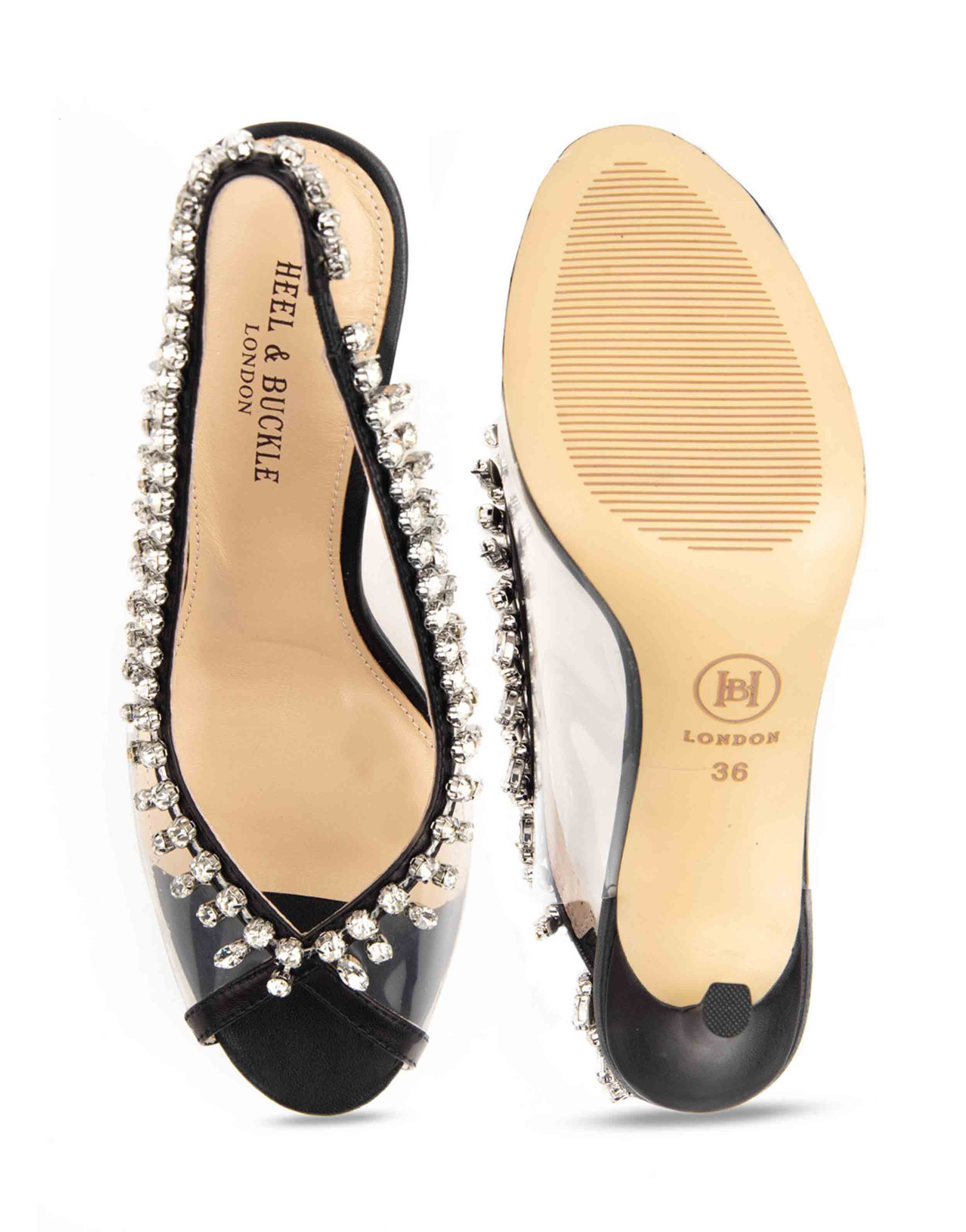 Heel _ Buckle London-Shoes-HBDARW092-Black Studded Perspex Open Toe Sandals-4